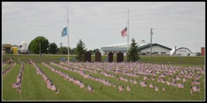 cemetery flags honoring veterans