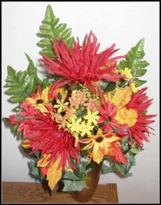 Crypt Bouquet J-1155 Orange Starburst Mum/Yellow Daisy w/blossom $20.00