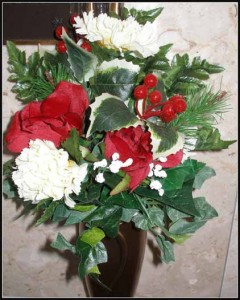 Crypt Bouquet JX-1169 Red Rosebuds/ White Carnations/ Red Berries/Evergreen $20.00