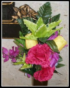 Yellow & red rose, lime lillies crypt flowers