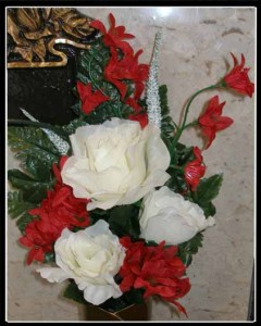 white rose, red accents