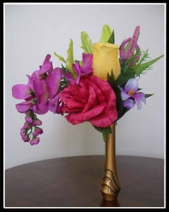 yellow and red rose, lime lilly, whisteria niche flowers