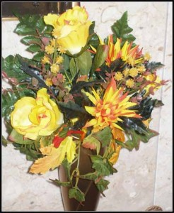 Crypt Bouquet J-0955 Yellow Roses/ Yellow & Orange Mums $20.00