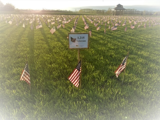 Flags for Memorial Day honoring 1215 veterans lost Aberdeen SD