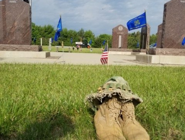 army boots a symbol of loss on Memorial Day Aberdeen SD